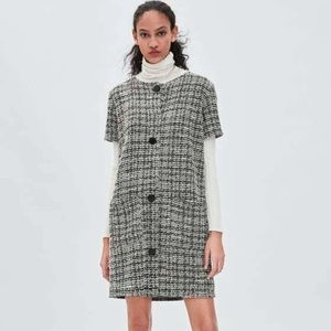 Zara Button Front Tweed Pocket Mini Dress-S